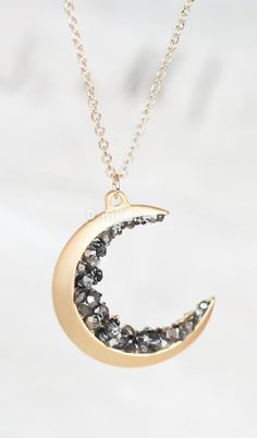 """""""Love you to the moon and back"""" Gold Crescent Moon Encrusted With Black Diamond Crystals Jewels Long Necklace"""