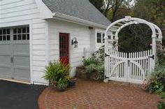 Detached garage and breezeway with brick patio, arbor Patio Roof, Pergola Patio, Backyard, Pergola Plans, Garage Plans, Shed Plans, Garage Ideas, House Plans, Detached Garage Designs