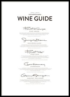 Five Wine Classics, posters in the group Posters & Prints / Kitchen at Desenio AB (8558)