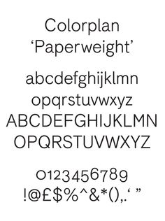 Bespoke typeface 'Colorplan' by Colophon Foundry