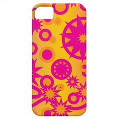 Cool Hot Pink Orange Girly Stars Circles Pattern iPhone 5 Cases