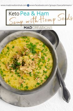 Keto Pea and Ham Soup is an extremely tasty soup with hemp seeds instead of the legumes. A family favourite Keto Pea and Ham Soup is an extremely tasty soup with hemp seeds instead of the legumes. A family favourite Cookbook Recipes, Soup Recipes, Keto Recipes, Healthy Recipes, Recipes Dinner, Healthy Meals, Dinner Ideas, Healthy Eating, Hemp Recipe