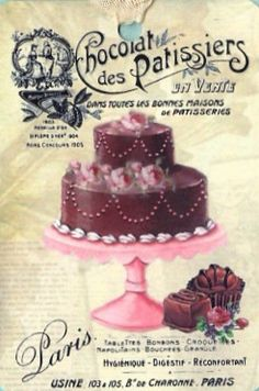 New Cake Illustration Sugar Ideas Decoupage Vintage, Decoupage Paper, Vintage Diy, Vintage Labels, Vintage Postcards, Cupcake Torte, Cupcakes, Images Vintage, Vintage Pictures