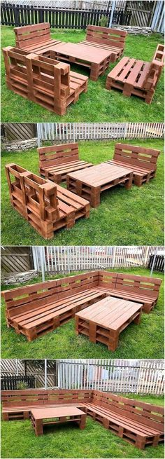 This idea of creating upcycled wood pallets garden furniture requires a little bit of time and effort because the pallets need to be joined on proper distance. The pallets are painted for this project