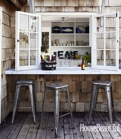 Bar inspiration: mount bar to wall, salvaged window behind  And I like the windows!