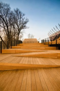 Pavillon in Warschau / Ponadto Grupa Projektowa, Landscape Stairs, Landscape And Urbanism, Urban Landscape, Landscape Design, Street Design, Ramp Design, Architecture Design, Urban Furniture, Urban Planning