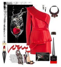 """Red & black - Balmain dress"" by riquee ❤ liked on Polyvore featuring Christian Louboutin, Balmain, Prada, Roberto Cavalli, JoÃ«lle Jewellery, Loree Rodkin and Marni"
