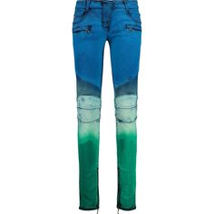 Balmain Tie-dye low-rise skinny jeans ($480) ❤ liked on Polyvore featuring jeans, bright blue, tie dye skinny jeans, flap-pocket jeans, skinny jeans, zipper pocket jeans and bright blue jeans