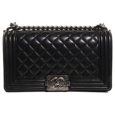 CHANEL Lambskin Quilted Medium Boy Flap Black ❤ liked on Polyvore featuring bags, handbags, black evening handbags, black handbags, evening purse, quilted handbags and chanel purses