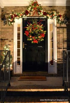 Most Beautiful Christmas porch decorations, made with big garlands, Christmas trees, red bows and twinkling Christmas lights Noel Christmas, Winter Christmas, Christmas Lights, Christmas Wreaths, Black Christmas, Christmas Porch Ideas, Decorating For Christmas, Outdoor Christmas Garland, Christmas Cactus