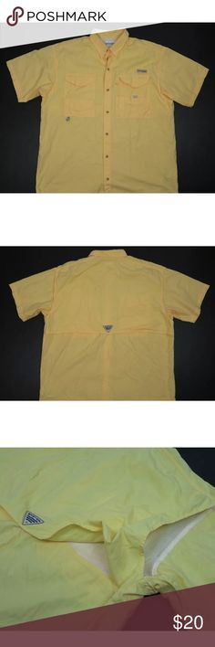 21f5572be46 Columbia PFG Vented Fishing Shirt Men's L Columbia PFG Mens Size L Vented Fishing  Shirt Button Front Yellow Excellent used condition.