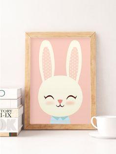 Conejo lindo, imprimir conejo animales, impresión escandinavo, dormitorio escandinavo, dormitorio minimalista, impresiones color de rosa, vivero decoración de la pared --------------- ¡Linda impresión ideal para decorar su dormitorio! ▲ Imprime en Canson 270gsm satinado, papel libre de ácido con impresoras profesionales, colores no se descoloran y papel no se ponen amarilla o se degradan. ▲ ¿tiene un tamaño de encargo? ¡Contacta conmigo! Ten en cuenta: Todas las impresiones se envían pr...