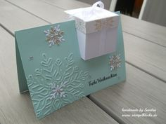 Geschenkbox in einer Karte inkl. Anleitung Gift box in a card including instructions – stamping, punching and crafts with Stampin & # Up! Christmas Gift Box, Stampin Up Christmas, Christmas Cards, Fancy Fold Cards, Folded Cards, Paper Cards, Diy Cards, Pop Up Cards, Card Tutorials