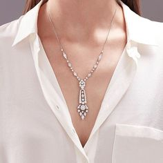 From House of Garrard's stunning Albemarle Deco collection, an white gold lariat necklace set with round white diamonds. Lariat Necklace, Necklace Set, Arrow Necklace, Pendant Necklace, Antique Jewelry, Vintage Jewelry, Inspirational Gifts, Designer Earrings, Diamond Jewelry