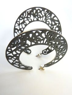 Large slender filigree hoop earrings. In oxidized sterling silver. Stunning and comfortable to wear! Cordoba collection. $89