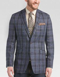 Joseph Abboud Blue Linen Plaid Slim Fit Sport Coat - Men s Sport Coats  8c2313f8b62
