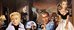 Some of the main characters from Hitchcock's films in a wonderful portrait... Quite creepy!