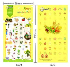 1 sheet succulent plants horticulture gardening bonsai Diary filofax Sticker