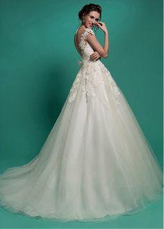 Buy discount Elegant Tulle Jewel Neckline Natural Waistline A-line Wedding Dress With Lace Appliques at Dressilyme.com