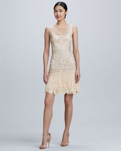 Rehearsal Dinner/ Bachelorette: Scoop-Neck Embroidered Fringe Cocktail Dress  by Sue Wong at Neiman Marcus.