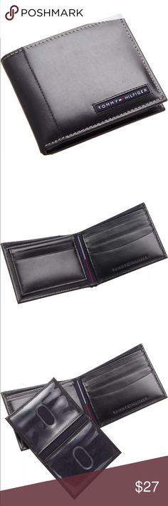 "New Tommy Hilfiger Men's Black Leather Wallet New Tommy Hilfiger Men Wallet Color: Black Size: 4.2"" x 3.2"" 6 Credit Card Slots 2 Bill Slot Tommy Hilfiger Bags Wallets"