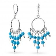 Bling Jewelry 925 Silver Synthetic Turquoise Chandelier Leverback Earrings