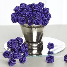 Take the personalized theme of your event's decoration to the next level with efavormart's decorative fabric flowers. Make DIY corsages, buttonholes, bouquets, headpieces and more with our Satin Ribbon Roses. Satin Ribbon Flowers, Purple Flowers, Paper Flowers, Rolled Fabric Flowers, Ribbon Crafts, Flower Crafts, Craft Flowers, Blue Purple Wedding