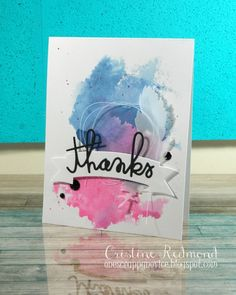 """Christine Redmond: """"I used a smooshing technique for this card.  I started by smashing my Picked Raspberry and Faded Jeans distress inks on a large, clean stamp block.  After spritzing with some water, I used a piece of acetate to pick up the color, then pressed the acetate to the card front.  Then I picked up some of the color with a brush and flicked a bit of it on the card.  The feather die cut is from My Mind's Eye and the sentiment and banner are from Paper Smooches, thread and enamel…"""