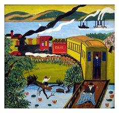 Early painting by Nova Scotia folk artist Maud Lewis depicting the Erie Train May 14, 1851. Visit our Maud Lewis gallery at www.blacksheepart.com/maudlewis60.html