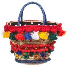 Dolce Gabbana Girls Decorated Straw Bag (23cm) (€665) found on Polyvore