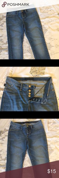 😎Cool high rise button up jeans 😍Rock & Republic high rise jeans are medium wash, Stretch, distressed at bottom, skinny fit, and size 8. Buttons up with 3 buttons for cool high rise style. Model is 5-4 and size 4. These are too big on me. Also cut at bottom and are ankle length! Cute! Rock & Republic Jeans Skinny
