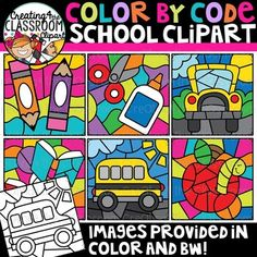 Color by Code School Clipart {Color by Code Clipart} Vibrant and Whimsical Color by Code Clipart is perfect for customizing your resources! Simply add your educational content to the empty spaces and create custom color by code, color by number resources, and so much more! There are a total of 12 images (6 in color and 6 in bw). #creating4theclassroom #backtoschool #tpt #classroom