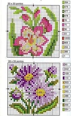 Floral petit point charts