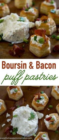 Boursin & Bacon Stuffed Puff Pastries-these look so fancy but no one would guess how easy they are to make! #ad #boursinparty #walmart @walmart @boursincheese