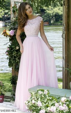 Long A Line Sherri Hill 50041 Pink Homecoming Dress