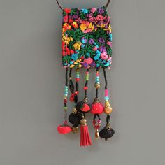 Ecofriendln fabric necklace, Vintage Mexican textile necklace, Tassel Statement Necklace , OOAK