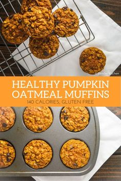 Pumpkin Chocolate Chip Oatmeal Muffins - Slender Kitchen Pumpkin Puree, Pumkin Puree Recipes, Pumpkin Gluten Free Muffins, Clean Eating Pumpkin Muffins, Can Of Pumpkin Recipes, Healthy Oatmeal Muffins, Gluten Free Pumpkin Cookies, Pumpkin Breakfast Cookies, Baked Pumpkin Oatmeal