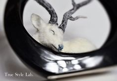 felted white deer from True Style Lab