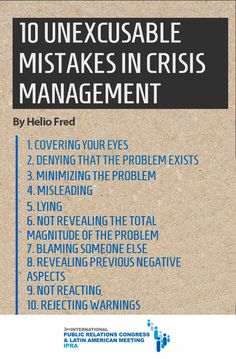 10 unexcusable mistakes in crisis management | IPRA 2012