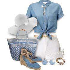 Blue Denim Shirt & White Shorts Outfit by helenehrenhofer on Polyvore featuring moda, Miss Selfridge, Castañer, Lucky Brand, Lizzy James, Design Lab, MANGO and Lauren Ralph Lauren