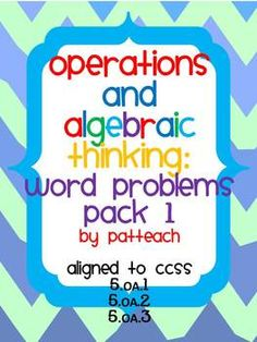 Operations and Algebraic Thinking: Word Problems Pack 1