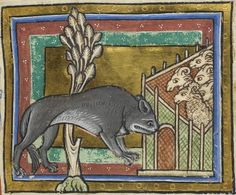 Detail of a miniature of a wolf, sneaking up on sheep from downwind; from a bestiary, England, c. 1200-c. 1210, Royal MS 12 C. xix, f. 19r