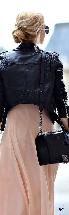 Leather jacket + flowy skirt + Chanel bag.