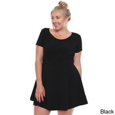 1bee5f25cf1e5 Beston Basics Junior s Chic Black Sleeved Skater Dress Plus Size 65748XL