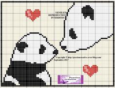 Grille gratuite point de croix : l'amour maternel des pandas - Passion creative
