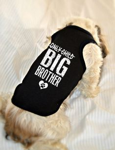 Only Child Big Brother Dog Shirt - Soon to be Big Brother Dog Tank. Pregnancy Reveal Idea. Custom Dog Tank Tops. Big Brother Dog Shirt. Small Pet Clothes. Gift for Expecting Mother. Big Brother Dog Top. Small Dog Shirts. Pet apparel. Dog Clothes.