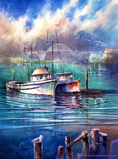 Along the Bayfront - Newport Oregon Watercolor Art Print. Bridge. Fishing Boats. Blue. Dock. Water. Seagulls. Oregon Coast. Nautical Art.