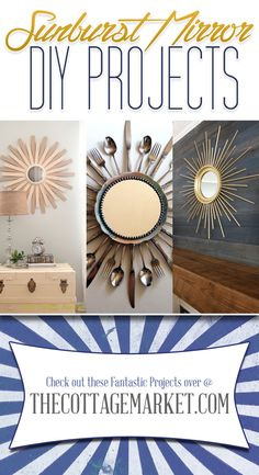Sunburst mirror using mismatched cutlery. Could spray it all white....