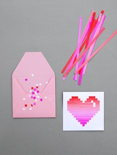 DIY Woven Heart Card and Envelope Templates from minieco here.