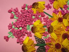 Quilling art 3D wall art photo échinacée Quilling par QuillingLife